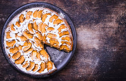 Apple pie on rustic background. Stock Photo