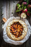 Apple pie on rustic wooden background Stock Photography