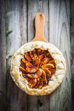 Apple pie on rustic wooden background Royalty Free Stock Images