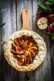 Apple pie on rustic wooden background Royalty Free Stock Photos