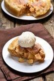 Apple pie served with ice cream Stock Photo