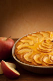 Apple pie with slice apple over Royalty Free Stock Photo