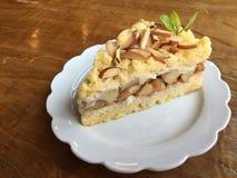Apple pie slice on white plate Stock Photo