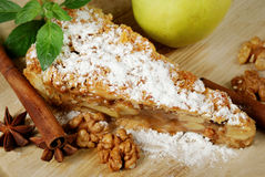 Apple pie with spices, cinnamon sticks, anise and nuts Royalty Free Stock Photos