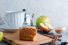 Apple pie,  tea and apple on a  table Stock Photo