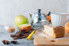 Apple pie,  tea and apple on a  table Stock Image