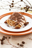 Apple pie strewn grated chocolate and decorated of dry branch Royalty Free Stock Photos
