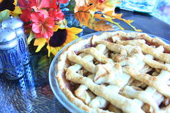 Apple Pie on a table for Thanksgiving. Cooke Apple Pie on a table for Thanksgiving Stock Image