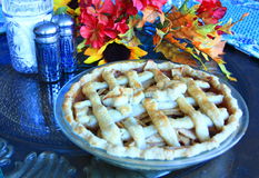 Apple Pie on a table for Thanksgiving. Cooke Apple Pie on a table for Thanksgiving Stock Images