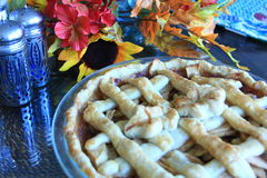 Apple Pie on a table for Thanksgiving. Cooke Apple Pie on a table for Thanksgiving Royalty Free Stock Images