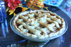 Apple Pie on a table for Thanksgiving. Cooke Apple Pie on a table for Thanksgiving Royalty Free Stock Photo