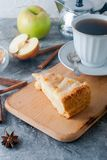 Apple pie,  tea and apple on a  table Royalty Free Stock Photo