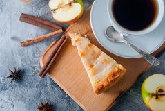 Apple pie,  tea and apple on a  table Stock Photography