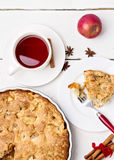 Apple pie with tea. Stock Images