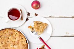 Apple pie with tea. Royalty Free Stock Photography