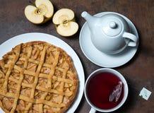 Apple pie and tea Stock Photo