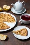 Apple pie and tea Stock Photography