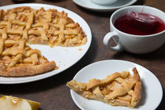 Apple pie and tea Royalty Free Stock Image