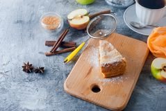 Apple pie,  tea and apple on a  table Royalty Free Stock Image