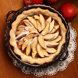 Apple pie. Top view of apple pie in cake tin royalty free stock images