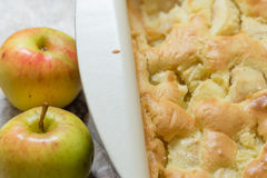 Apple pie with two apples. Apple pie in a pan with two apples Stock Image