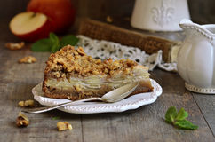 Apple pie with walnut and sugar glaze. Stock Images