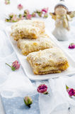 Apple pie  for a wedding. Apple pie on a white plate for a wedding Stock Photography