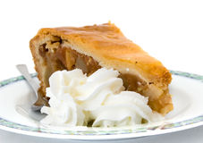 Apple pie with whipped cream Stock Photos