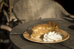 Apple-pie with whipped cream Stock Photo