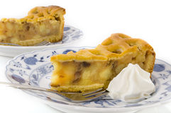 Apple pie with whipped cream Royalty Free Stock Image