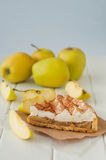 Apple pie with whipped cream covered by grated chocolate Royalty Free Stock Images