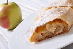 Apple pie on a white plate Royalty Free Stock Photography