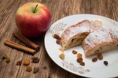 Apple pie on white plate Stock Photo