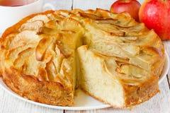 Apple pie on white table Royalty Free Stock Photos