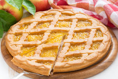Apple pie on white wooden table Stock Image