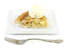 Apple Pie With Ice Cream On White Plate Stock Image