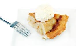 Apple Pie With Ice Cream On White Plate Stock Photo
