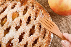 Apple Pie with Womans hand Royalty Free Stock Photos