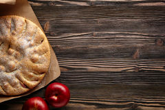Apple pie. On a wooden rustic table. Top view  and empty space for text Stock Image