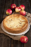 Apple pie on  wooden table Royalty Free Stock Image