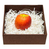 Apple is on pieces of paper in box Stock Image