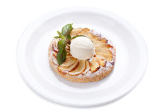 Apple piel with  ice cream and mint Stock Photo