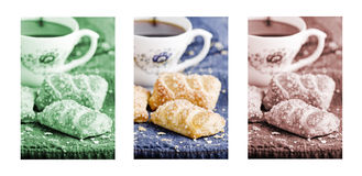 Apple pies and a cup of fresh coffee, puff pastries, triptych in green, brown and natural color Royalty Free Stock Photography