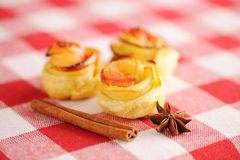 Apple pies dessert. Delicious apple pies dessert on red cloth stock images