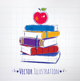 Apple on a pile of books. Royalty Free Stock Photography