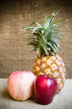 Apple with pine apple Royalty Free Stock Image