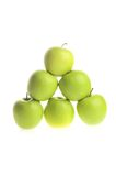 Apple piramide on white Stock Photos