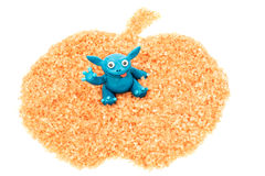 Apple with plasticine monster Stock Images