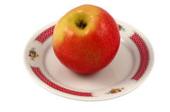 Apple on Plate Stock Images