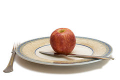 Apple on plate Stock Photo